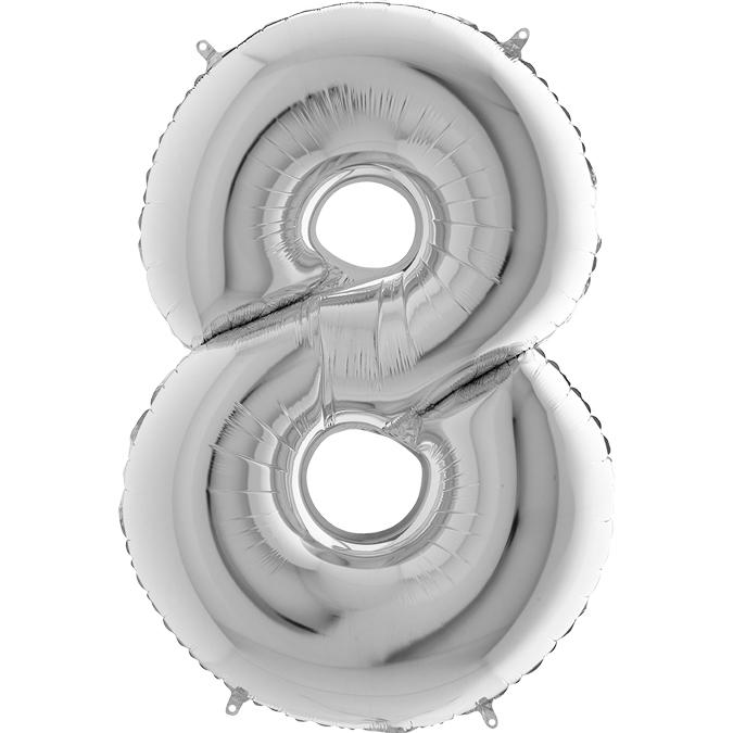 Серебряная цифра 8