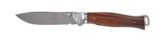 Нож складной Stinger, 105 мм (серебристый), рукоять: сталь/дерево (серебр.-корич.), коробка картон