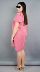 Клариса. Гарна сукня-сорочка плюс сайз. Смужка червона.