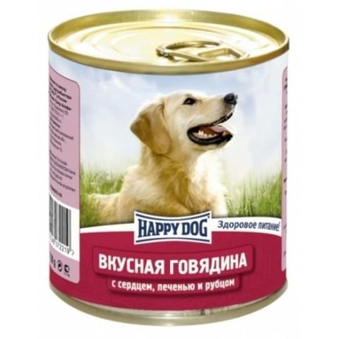 Happy Dog NaturLine для взрослых собак. Вкусная говядина с сердцем, печенью и рубцом 750г 1 шт