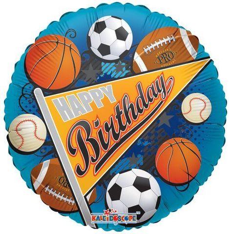 Фольгированный шар круг Happy BirthDay Мяч, 46 см