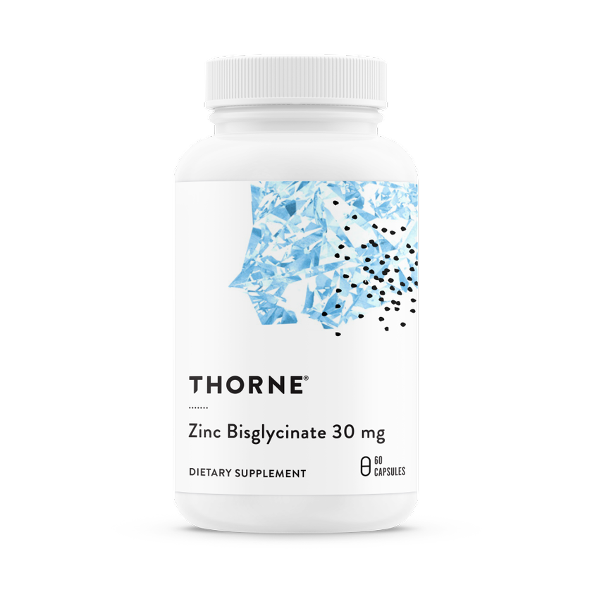 Бисглицинат цинка 30 мг, Zinc Bisglycinate 30 mg, Thorne Research, (60 капсул)