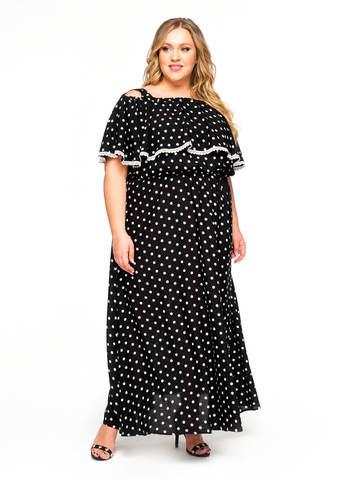 Платье с воланом по горловине Горох