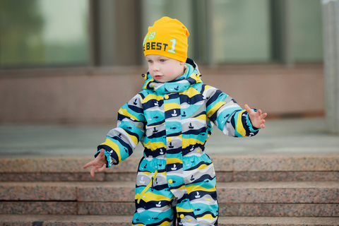 Демисезонный комбинезон для мальчика Uki kids Море синий с желтым
