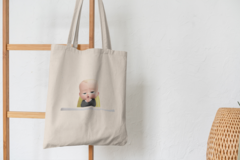 Сумка-шоппер с принтом Босс-молокосос (The Boss Baby) бежевая 0010