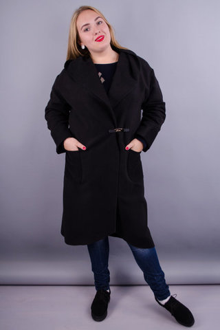 Сарена. Жіноче стильне пальто плюс сайз. Чорний.
