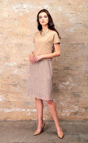 Фото бежевое плате с коротким рукавом и блестящей юбкой плиссе - Платье З345-775 (1)