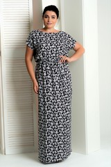 Стелла. Довга сукня великих розмірів. Дрібні квіти
