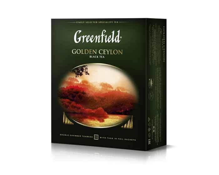 Чай черный в пакетиках из фольги Greenfield Golden Ceylon, 100 пак/уп