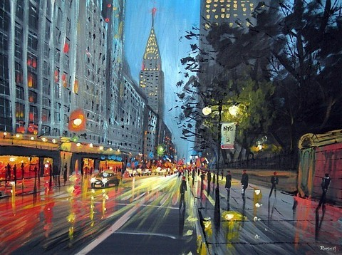 Картина раскраска по номерам 50x65 Наступление ночи в городе