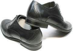 Мужские туфли дерби броги Ikos 1157-1 Classic Black.