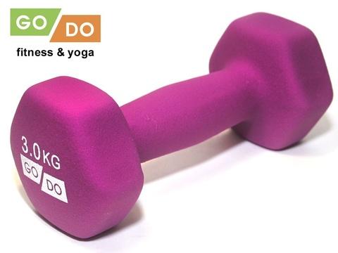 Гантель GO DO в виниловой матовой неопреновой оболочке. Вес 3 кг.  (Фиолетовый)