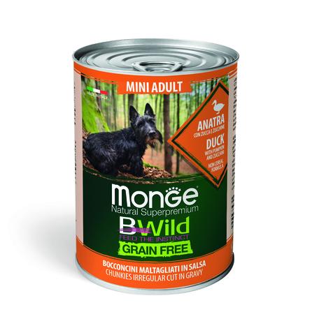 Monge Dog BWild Grain Free Mini Консервы для взрослых собак мелких пород из утки с тыквой и кабачками, беззерновые (банка)