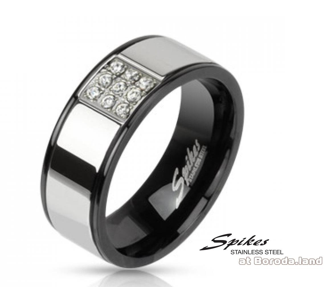 R-M2078 Мужское стальное кольцо «Spikes» с камнями