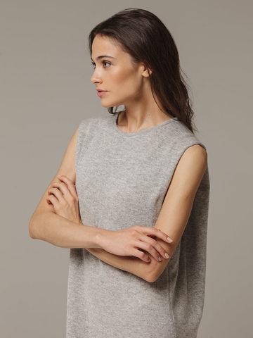 Женское серое платье свободного кроя без рукавов из 100% кашемира - фото 2