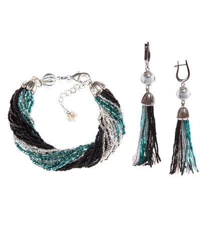 Комплект украшений из бисера черно-зеленый (серьги из бисера, бисерный браслет)