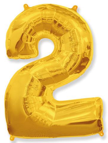 Воздушный шар (40''/102 см) Цифра, 2, Золото, 1 шт.