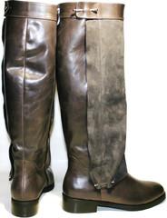 Кожаные сапоги женские на низком каблуке бежевые
