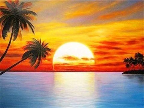 Алмазная Мозаика 30x40 Оранжевый закат на острове