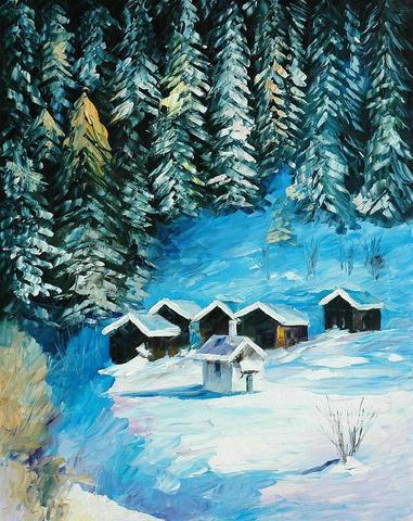Картина раскраска по номерам 50x65 Домики у леса