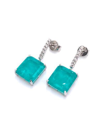 24553 - Серьги  из серебра с кварцем цвета турмалин