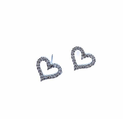 25472 -Серьги-пусеты в форме сердечек из серебра  с цирконами (маленькие)