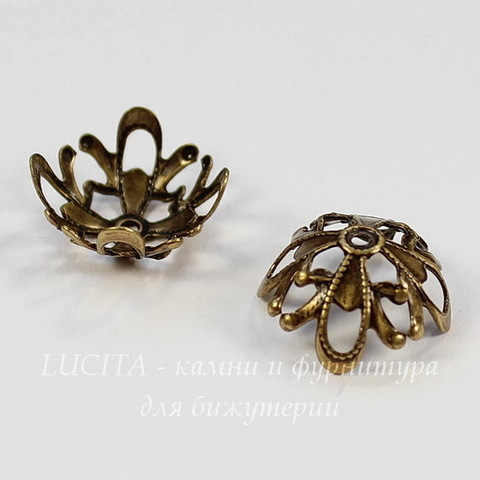 Винтажный декоративный элемент - шапочка 13х6 мм (оксид латуни)