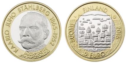 5 евро 2016 Финляндия - Каарло Юхо Стольберг (Первый президент)