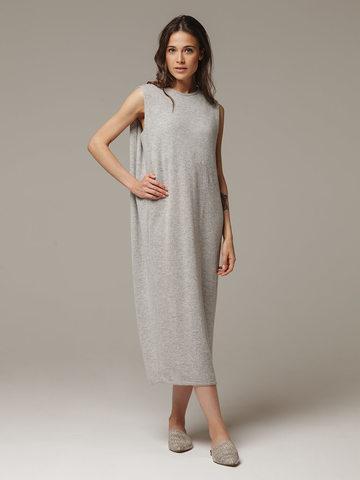 Женское серое платье свободного кроя без рукавов из 100% кашемира - фото 1