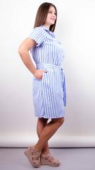 Ірина. Стильна сукня-сорочка великих розмірів. Смуга блакитна.