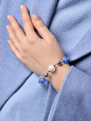 Браслет из муранского стекла Azzurro сине-белый