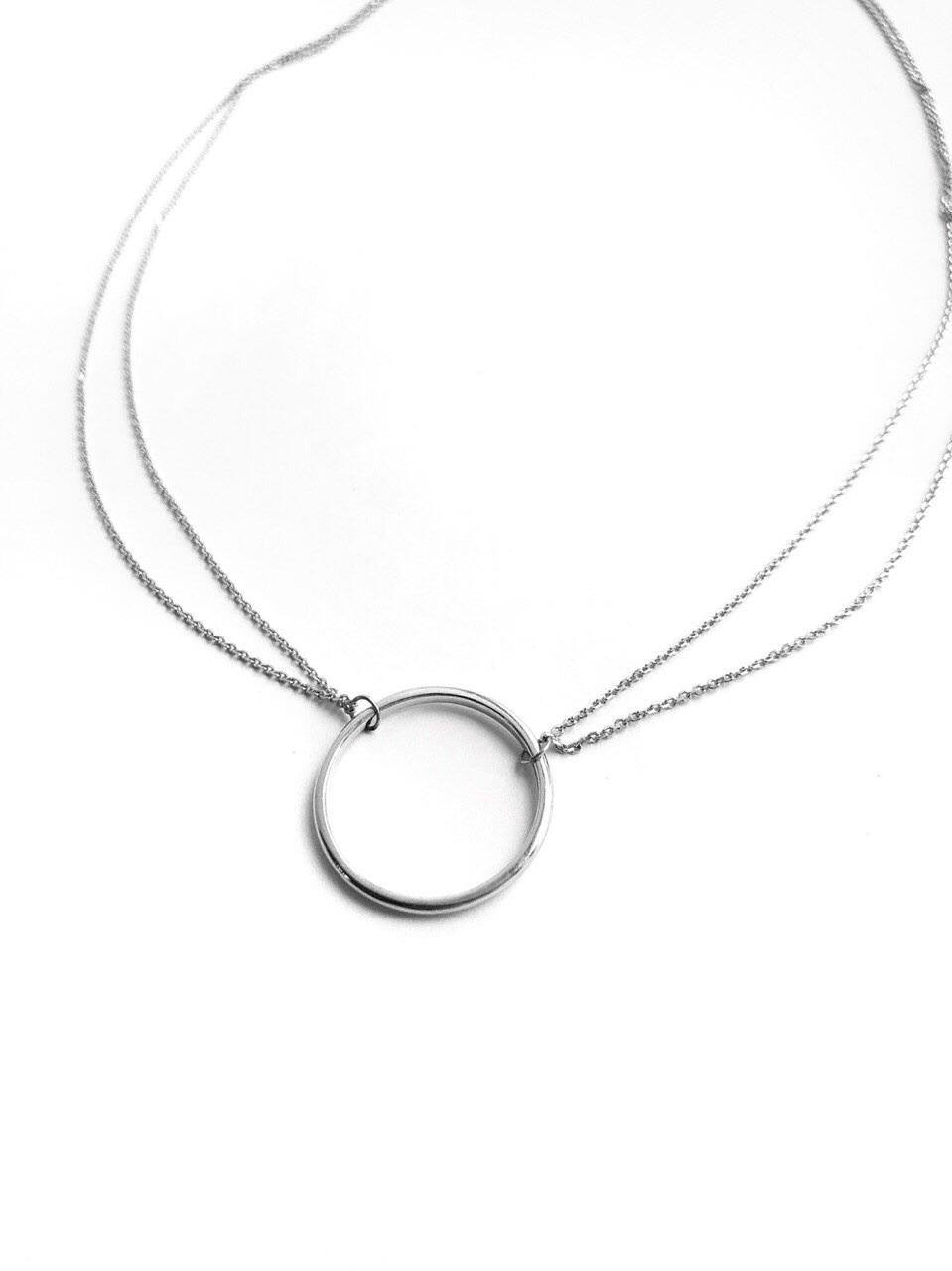 Серебряное двойное колье с кольцом, 20 мм