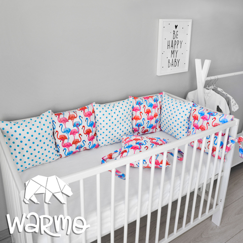 Набір бортиків-подушок в ліжечко 30x30см РІЗНОКОЛЬОРОВІ ФЛАМІНГО