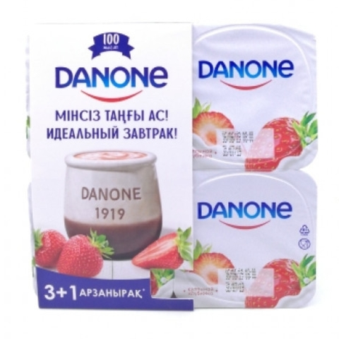 Йогурт DANONE Клубника 4*120 г КАЗАХСТАН