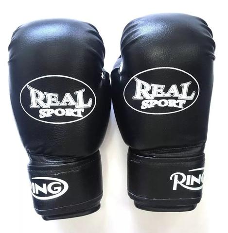 Перчатки   боксерские REALSPORT 8 унций, черный (к 33575)