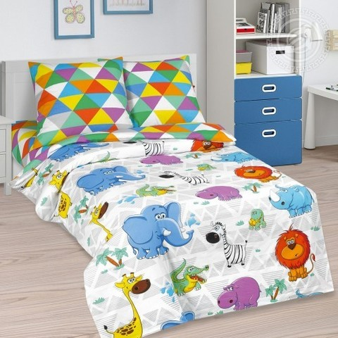 Детское постельное бельё Весёлый зоопарк ПОПЛИН NEW