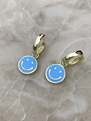 Серьги Эмодзи из серебра с голубой эмалью