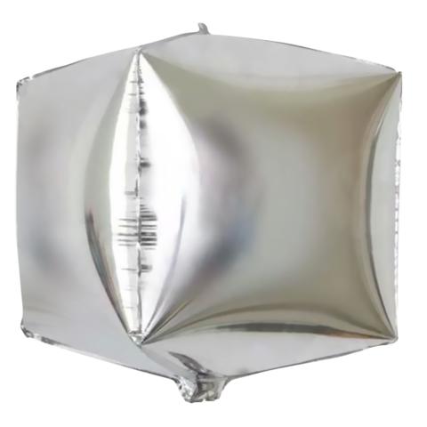 Шар куб 3D серебряный подарок с ленточкой на выбор
