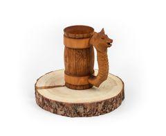 Кружка из дерева с резной ручкой «Волк» 0,5 л, фото 3