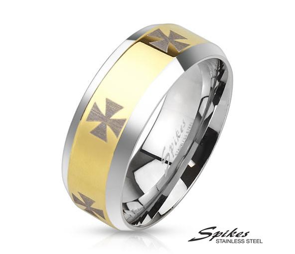 R-M3658 Широкое золотистое кольцо «Spikes» с крестами