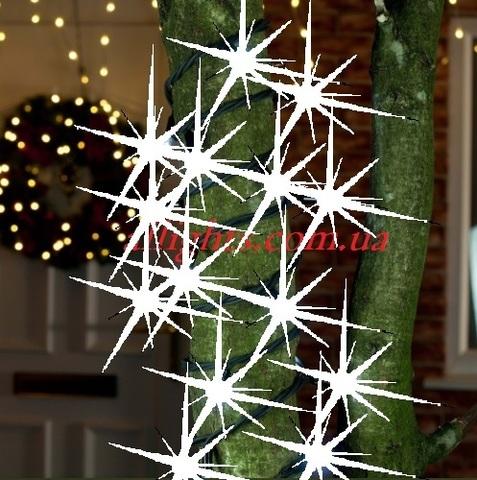 На дерево гирлянда профессиональная нить string light led с мерцанием на черном проводе каучук 10 метров с последовательным включением между собой
