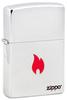 Зажигалка Zippo Flame с покрытием Brushed Chrome, латунь/сталь, серебристая, матовая, 36x12x56