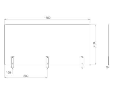 Настольный экран на струбц. Ш.1600мм В.600/750 мм