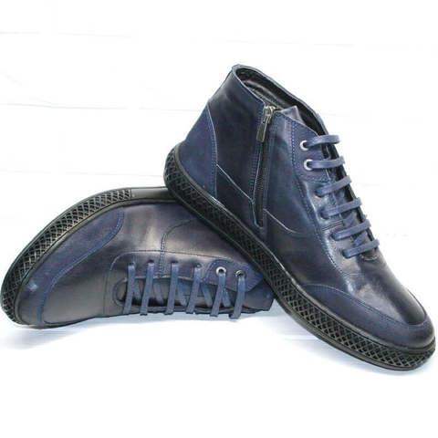 Термоботинки мужские. Кожаные ботинки осень зима. Синие ботинки на толстой подошве LucianoBellini-LBlue.