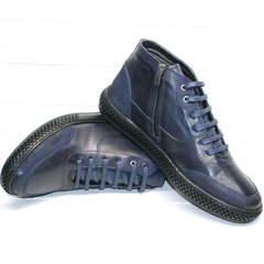 Кожаные ботинки кэжуал мужские Luciano Bellini BC2802 L Blue.
