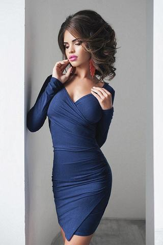 Короткое платье замшевое, темно-синее