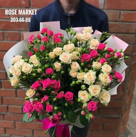 Букет из 17 кустовых роз 80 см #1861