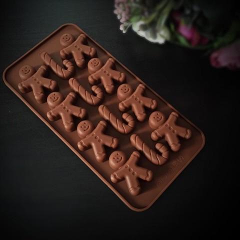Силиконовая форма для шоколада Человечки и леденцы 12в1