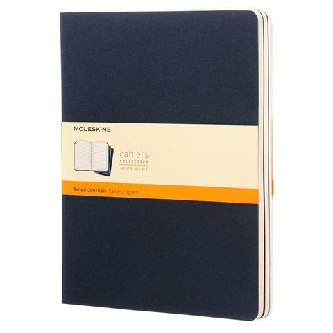 Блокнот Moleskine CAHIER JOURNAL CH221 XLarge 190х250мм обложка картон 120стр. линейка синий индиго (3шт)