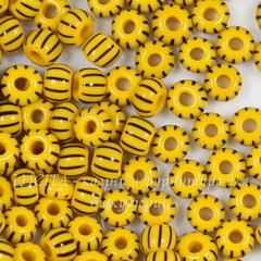 83491 Бисер 4/0 Preciosa непрозрачный, желтый с черными полосками
